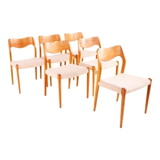 Mid Century Niels Otto Moller for J L Mollers No 71 Teak Dining Chairs - Set of 6 For Sale