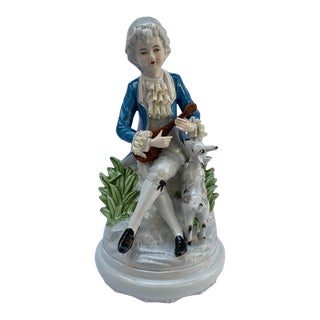 Vintage Meissen Rococo Porcelain Figurine of Boy Playing Instrument For Sale