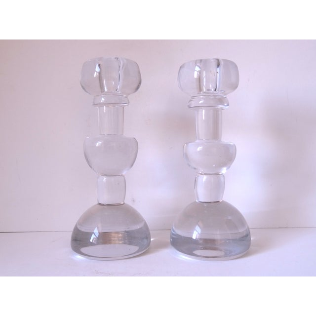 Scandinavian Glass Candle Sticks - A Pair - Image 2 of 7