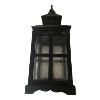 Large Wood Chrome Lantern