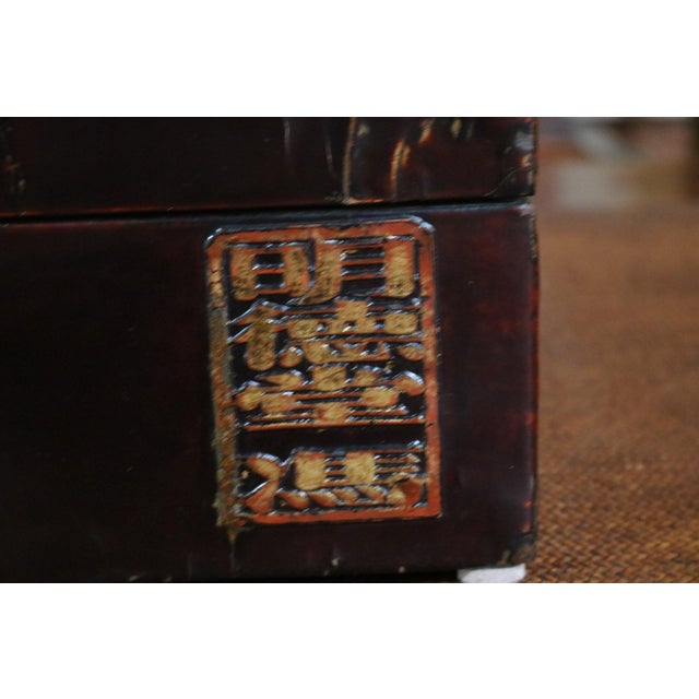 Chinese Black Lacquer Leather Table Chest For Sale In Los Angeles - Image 6 of 7