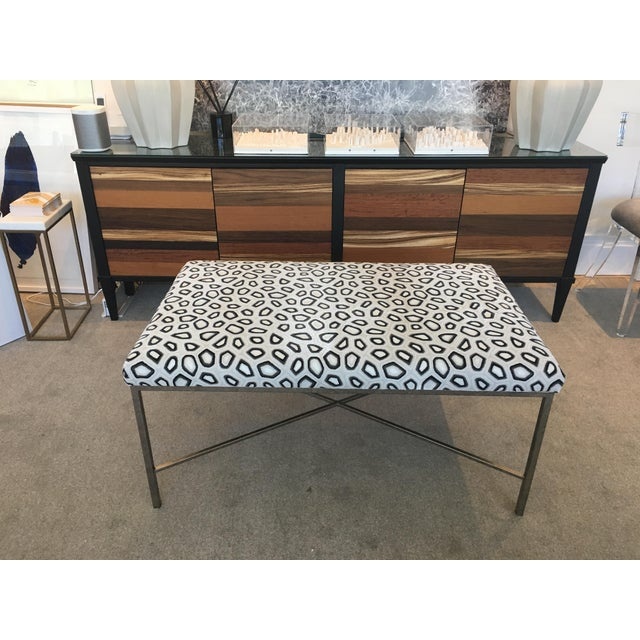 Black Kravet Couture Velvet Upholstered Bench For Sale - Image 8 of 8