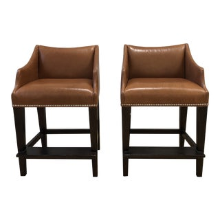 Pair of William Sonoma Grant Leather Counter Stools For Sale