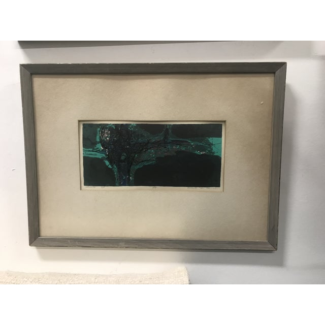 "1960s Vintage Douglas H Teller ""Grotto"" Framed Abstract Mixed Media Painting For Sale - Image 4 of 4"