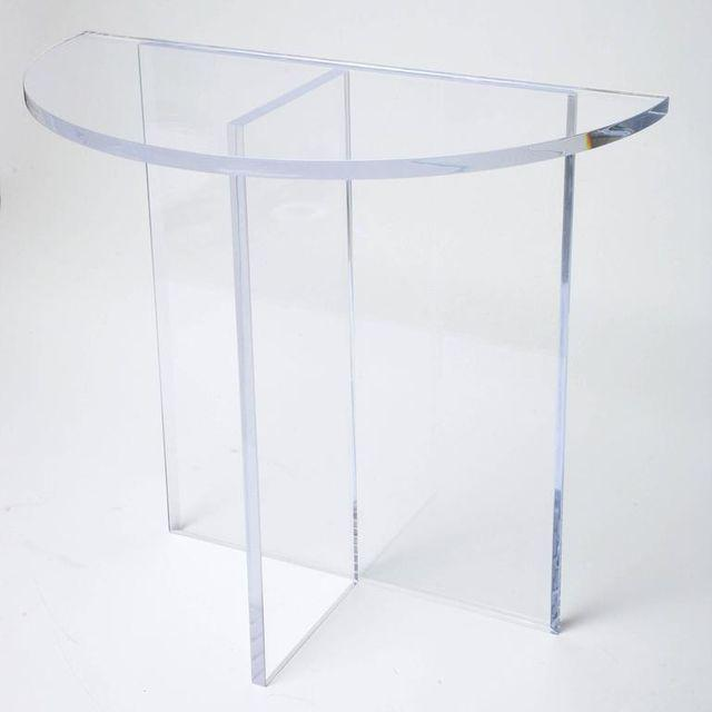 Custom Designed Charles Hollis Jones Style Demilune Clear Lucite Console - Showroom Sample For Sale In West Palm - Image 6 of 12