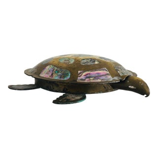 Vintage Mexican Abalone & Brass Turtle Box For Sale