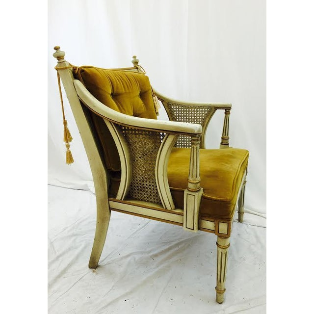 French-Style Gold Velvet & Cane Armchair - Image 7 of 11