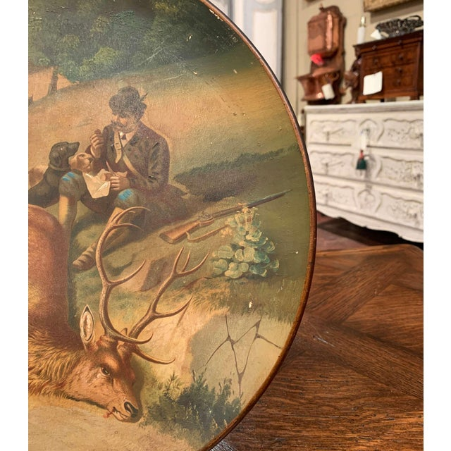 Ceramic Early 20th Century German Hand Painted Ceramic Hunt Scene Wall Platter For Sale - Image 7 of 13