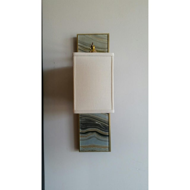Modern Brass and Marbleized Wall Sconce V1 by Paul Marra For Sale In Los Angeles - Image 6 of 8