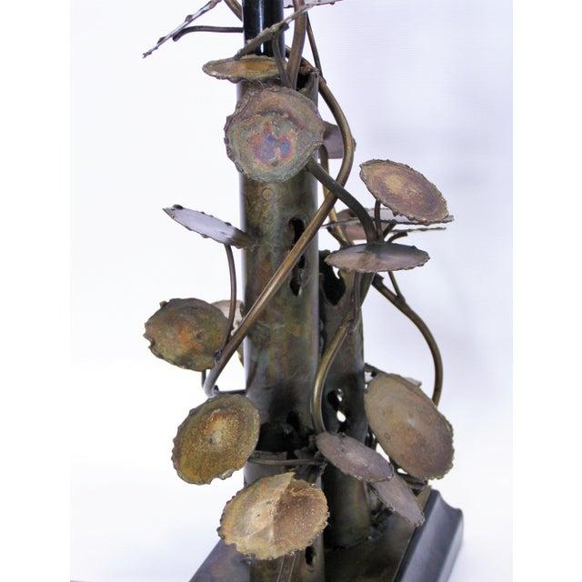 Silas Seandel Silas Seandel Brutalist Metal Table Lamp-Curtis C. Jere Raindrops Sculpture Style Mid-Century Modern MCM Millennial For Sale - Image 4 of 11