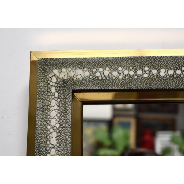 Metal Celadon Shagreen Wall Mirror For Sale - Image 7 of 10