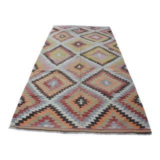 Vintage Turkish Kilim Rug - 5′4″ × 10′7″