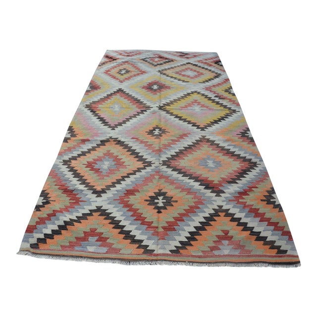 Vintage Turkish Kilim Rug - 5′4″ × 10′7″ - Image 1 of 6