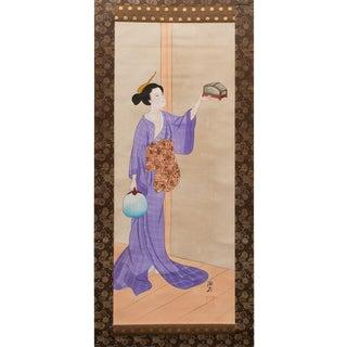 1920s Taishō Era Lady in Purple Kimono Ukio-E Style Japanese Scroll Painting For Sale