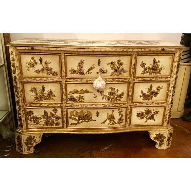 White Vintage Cream Chinoiserie Painted Chest For Sale - Image 8 of 8
