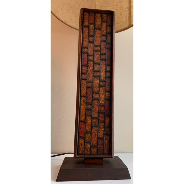 Mid-Century Modern 1960s Mosaic Style Wood Lamp Mid Century Modern Retro Lighting For Sale - Image 3 of 10