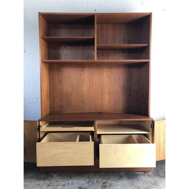 Mid-Century Modern Vintage Mid Century Danish Modern Filing Cabinet With Hutch by Poul Hundevand For Sale - Image 3 of 13