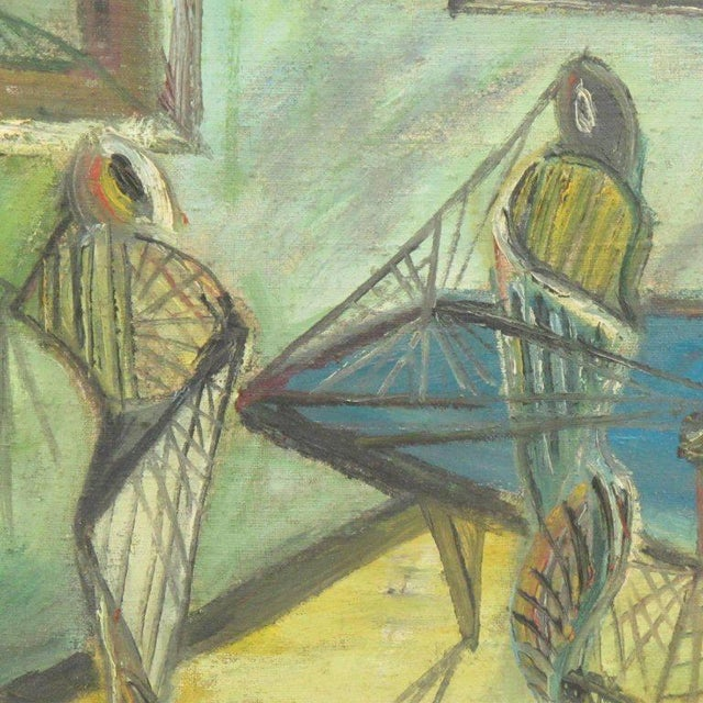 J. Blot France Modernist Interior With Spider Web Acrylic on Canvas Painting For Sale In Atlanta - Image 6 of 11