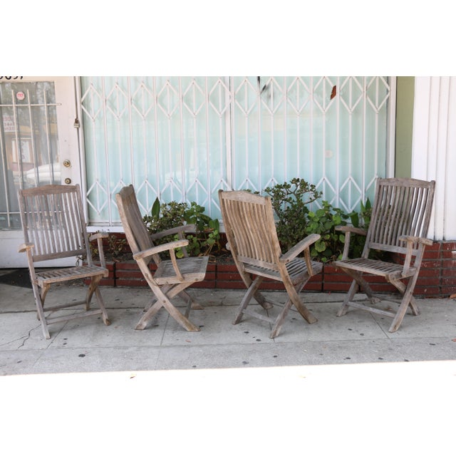 Vintage Set of Teak Outdoor Patio Chairs For Sale - Image 12 of 13