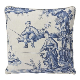 Schumacher Double-Sided Pillow in Shengyou Toile Print For Sale