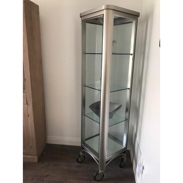 Art Deco Ethan Allen Radius Collection Brushed Nickel Curio For Sale - Image 3 of 4