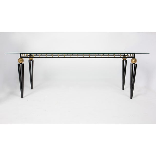 French Art Deco Forged Iron Dining Table - Image 4 of 10