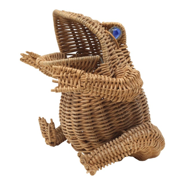 Vintage Wicker Frog Basket With Glass Marble Eyes For Sale
