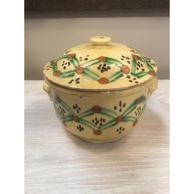 19th Century French Pottery Tureen. Lidded Yellow Tureen with Multi Colored Decorative Pattern