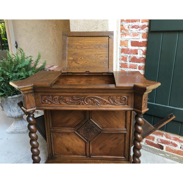 Gothic Antique English Carved Oak Barley Twist Hall Console Table Cabinet Gothic Stand For Sale - Image 3 of 12