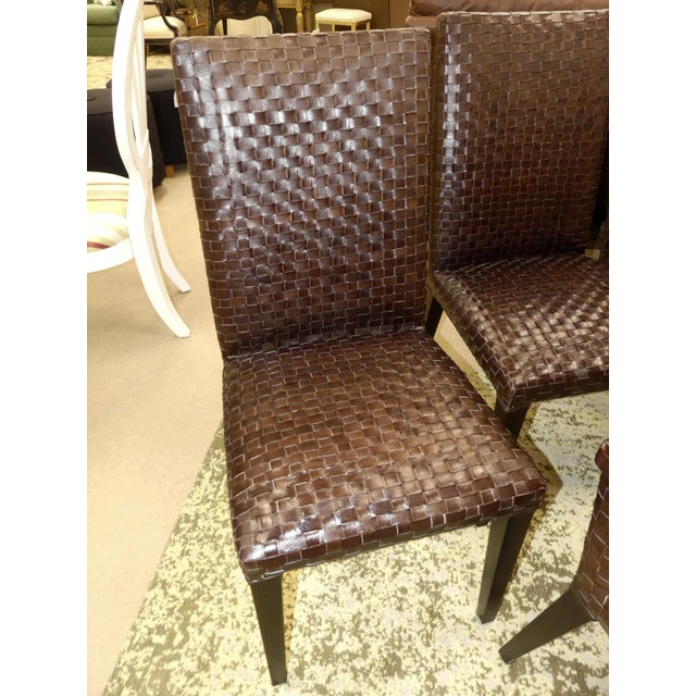 Contemporary Stone International Modern Italian Woven Leather Dining Chairs- Set of 4 For Sale - Image 3 of 13