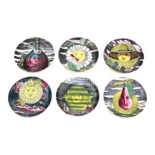 "1960s Fornasetti ""Soli E Lune"" Porcelain Coasters With Original Box - Set of 6 For Sale"