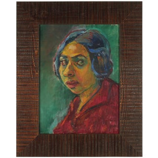 Martin Snipper Expressionist Portrait, Oil on Canvas, 1940s For Sale