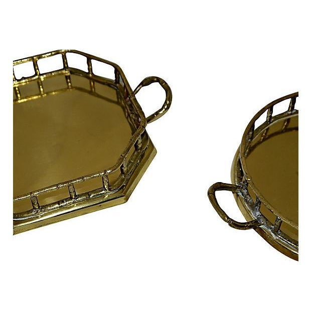 Brass Faux Bamboo Trays - A Pair - Image 5 of 5
