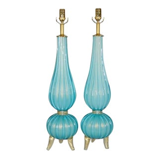 Murano Glass Footed Lamps Blue & Gold For Sale