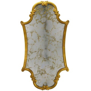 Carved and Gilt Wood Framed Venetian Mirror For Sale