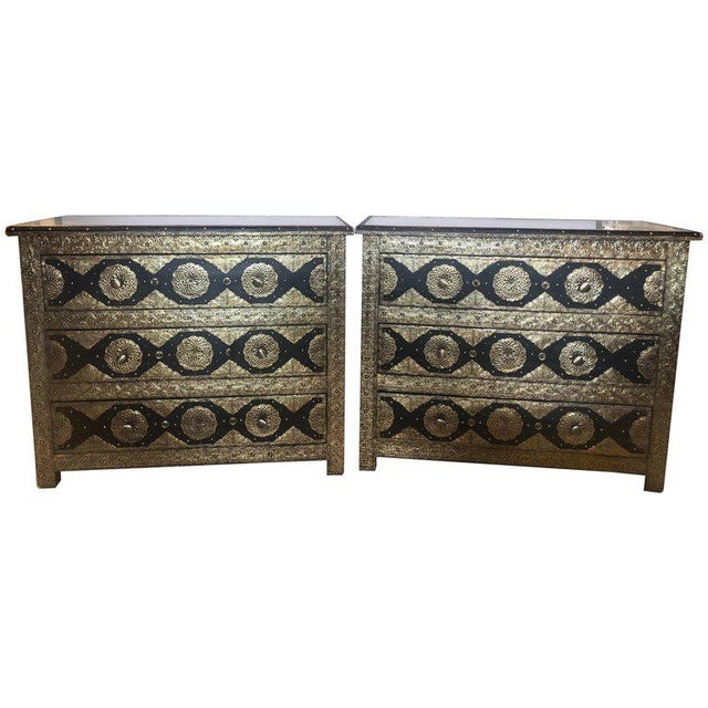 1970s Hollywood Regency Brass & Ebony Commodes - a Pair For Sale - Image 13 of 13