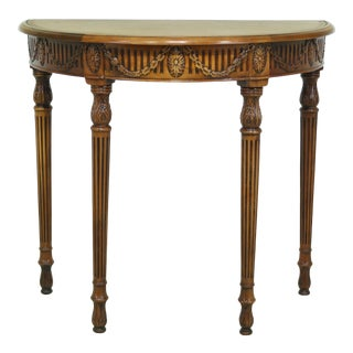 Adam Style 1/2 Round Leather Top Hall Table W. Drawer For Sale