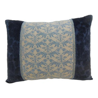 "Vintage Fortuny ""Richelieu"" Blue on Silver Decorative Bolster Pillow For Sale"