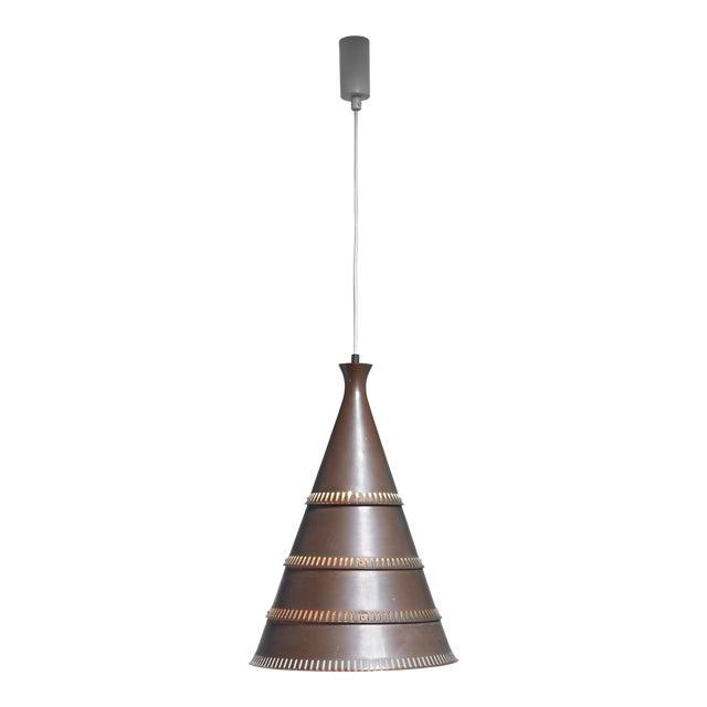 Knud Hjerting model p208 copper pendant for Lyfa, Denmark, 1960s For Sale
