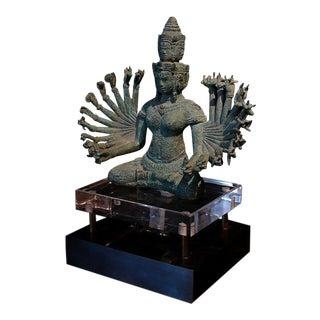 A Khmer Bronze Figure of Prajnaparamita with Eleven Faces For Sale