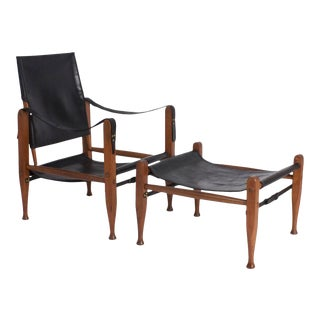 Safari Chair and Ottoman - A Pair For Sale