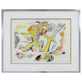 Mid-Century Modern Framed Large e.a. Lithograph Seduction Signed Andre Masson For Sale