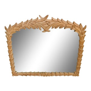 Vintage Serge Roche Style Palm Frond Leaf Wall Mirror For Sale