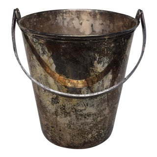 Vintage Ice Bucket of Silver Plated Copper For Sale