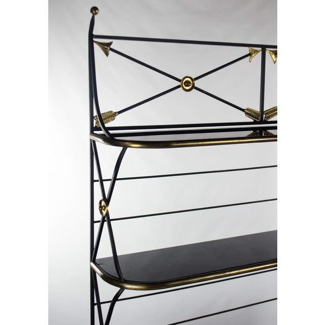 Mid 20th Century Modern Campaign Style Bakers Rack and Cabinet For Sale - Image 5 of 13