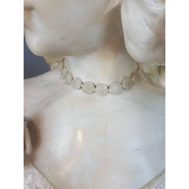19th Century Italian A. Cipriani Carrara Marble Bust of a Young Woman Sculpture For Sale - Image 6 of 13