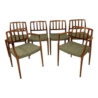 1960s Vintage Niels Otto Moller Teak Dinning Chairs- Set of 6 For Sale