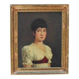 1 of 2 19th C. Portrait Paintings Woman Lady Wife of a British Naval Officer Oil on Canvas Antique For Sale