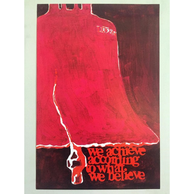 """Rare Vintage 1973 Mid Century Modern Lithograph Print Poster """" We Achieve According to What We Believe """" For Sale In Kansas City - Image 6 of 8"""
