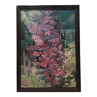 """""""Clematis"""" Flowers Original Oil Painting by Jan Matras For Sale"""